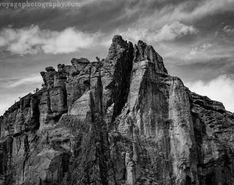 Mountain Peak Photo, Black and White Photography, Rustic Landscape, Art For Men, Rock Photograph, Rustic Home Decor, Nature Photography