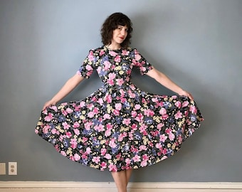 52ad5a6bb08a 1990s 90s Vintage Pastel Pink Floral Flower Print Short Sleeve Midi Circle  Skirt Dress   Modest Fit   Flare Jersey Knit   Medium M 8 10 12