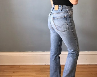 1c29a7d573f 1990s 90s Vintage Levi's 32 x 33 Boot Cut Straight Leg Mid Rise Distressed  Stonewashed Worn-In Soft Denim Jeans Pants / Mens Womens Unisex