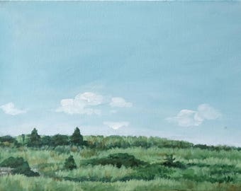 Grass and Sky - unframed Original Painting on canvas