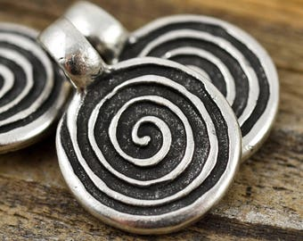 18mm Spiral Pewter Pendant - Mykonos Beads - QTY: 4 or 6