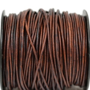 2mm Natural Antique Brown Leather Round Cord Distressed Matte Finish