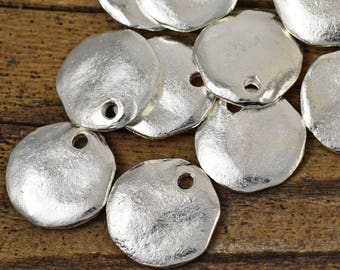 18mm Cornflake Dangle - Fine Silver - Mykonos Beads - Rustic Round Pendant or Charm