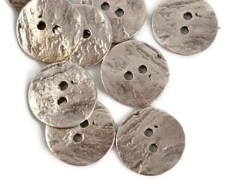 20mm Button Round - Pewter - Mykonos Beads Round Cornflake Button