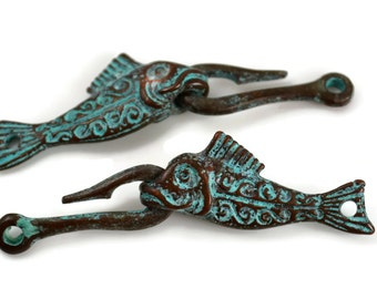 Fish and Hook Clasp - Green Patina - Mykonos Beads - QTY: 2 or 4