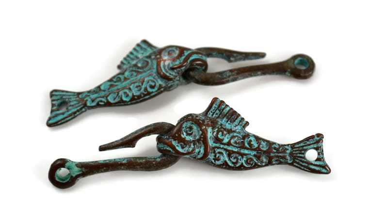 Fish and Hook Clasp  Green Patina  Mykonos Beads image 0