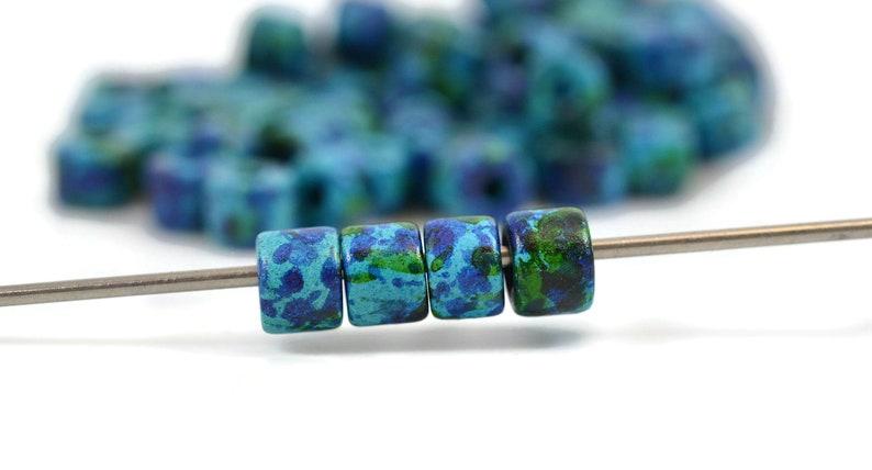 Mykonos Ceramic Beads 2.5mm Hole Short Tube 8x7mm Aegean Blue Mix