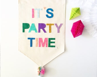 It's Party Time Wall Banner - Customizable Wall Banner  23 x 16in Wall Hanging Banner - Pennant Flag
