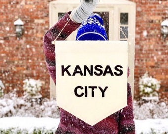 Kansas City Wall Banner - 19 x 13in - Canvas Banner Wall hanging
