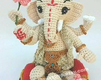 Lord Ganesha, the Lord of sucess - ready to ship amigurumi