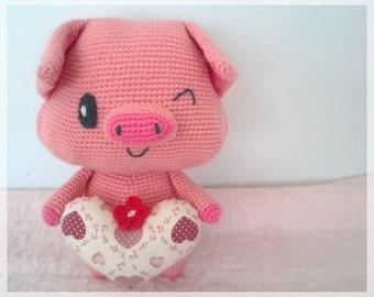 Pig with heart, amigurumi, crochet pig. Ready to ship.