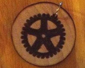 Wood Burned Steampunk Gear Pendant