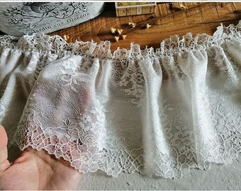 3 meter 15cm 5.9 wide ivory elastic mesh ruffled pleated fabric embroidered lace trim ribbon tapes S40C20R201113V