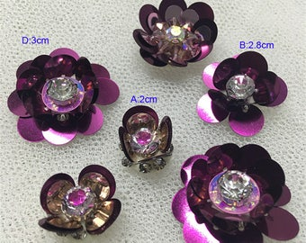 15-40pcs 2-3cm wide dark purple sequins Rhinestones beads flower bag shoes  clothes dress appliques patches brooch C46T31L0427I free ship 2ed8bd595392