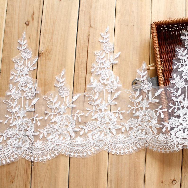 6 yard 30cm 11.8 wide ivory bridal wedding dress mesh tulle gauze embroidered tapes lace trim ribbon vbt5 free ship