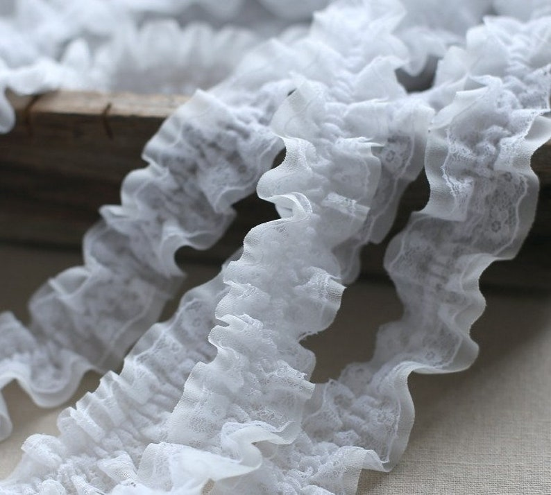 10 meter 3.5cm 1.37 wide ivory chiffon lingerie ruffled pleated gauze mesh fabric dress embroidery tapes lace trim ribbon H47S957M210420L