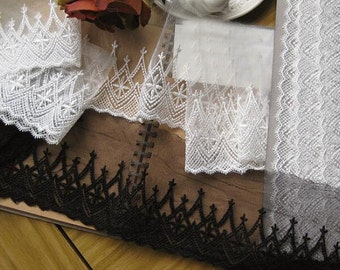 """10 yard 9cm 3.54"""" wide black/ivory mesh tulle gauze fabric embroidered tapes lace trim no with ribbon 19193 1028 free ship"""