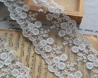 "10 yard 10cm 3.93"" wide black/ivory/beige mesh embroidery lace trim ribbon tapes L2K66 I-06H03 1022699 free ship"