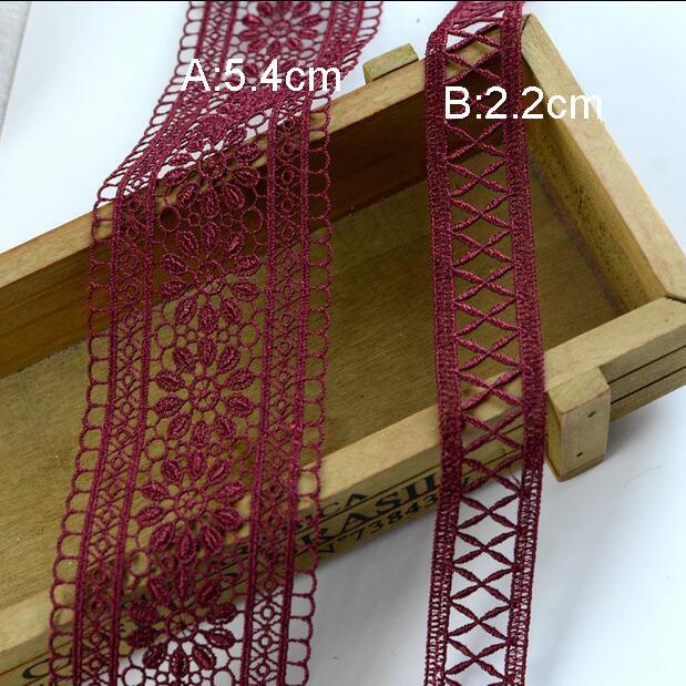 10-20 tissu mètre 2.2-5,4 cm de tissu 10-20 rouge vin large bandes de navire gratuit H18D712P181011E ruban de dentelle 7178cb
