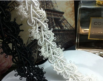 "5 yard 2cm 0.78"" wide black/ivory rose braided tapes lace trim ribbon okma free ship"