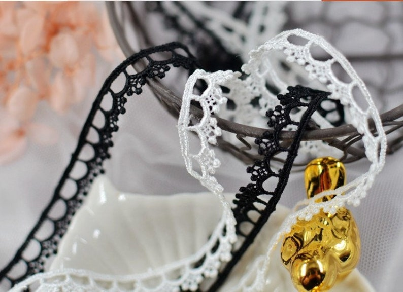 20 meter 1.2cm 0.47 wide blackivory fabric embroidery tapes lace trim ribbon B14T1137Z200222N