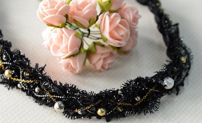 brodée noir de perles de 2 yard 2cm 0,78
