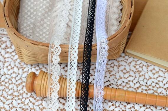 50 mètres 0,9 1,2 cm maille large noir/ivoire/blanc maille cm tissu broderie rubans dentelle ruban D7D713L180701R navire gratuit 66e225