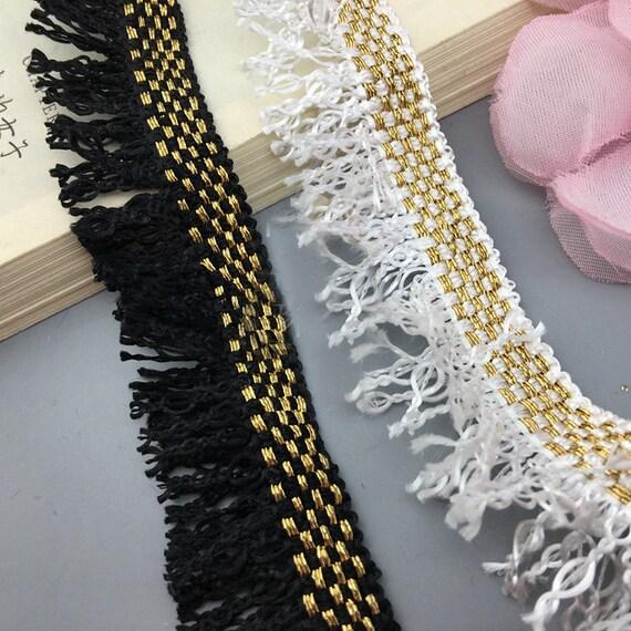 5 Cour 3cm 1,18 « large noir/ivoire or pompon pompon or franges bandes dentelle ruban agab navire gratuit e2265f