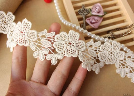 10 meter 3cm 1.18 wide ivory fabric embroidery tapes lace trim ribbon S18E880T191117R