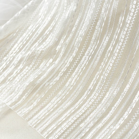 0.9X1.3 meter wide ivory sequins beads mesh dress fabric lace embroidered veil cloth clothing S24E83O0321T free ship
