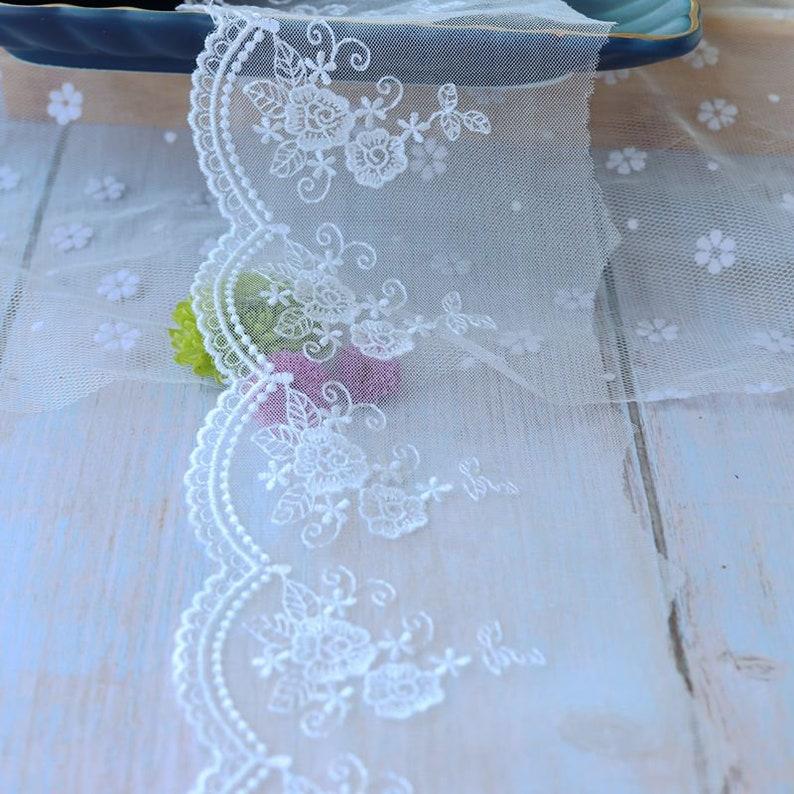 5 meter 9cm 3.54 wide ivory mesh gauze fabric embroidery dress bag socks lace trim ribbon tapes X28C286T210120V