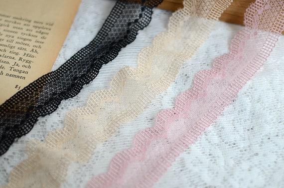 20 mètre 2,8 cm 1.1» maille extensible élastique large noir/abricot/rose tulle tulle noir/abricot/rose gaze tissu brodé bandes de ruban dentelle V16E472K0512U gratuit 188c31