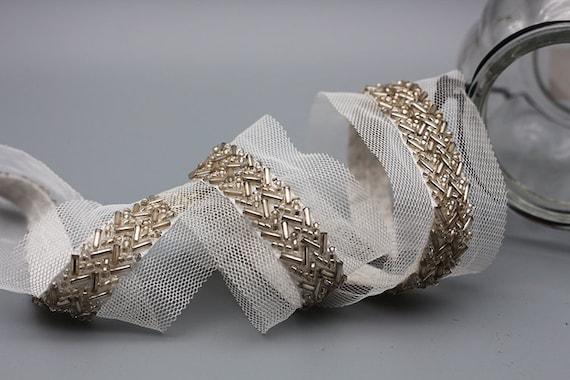 3 yard 1.5-4cm wide ivory beads mesh fabric braid embroidery  0cd3fa6d42c5