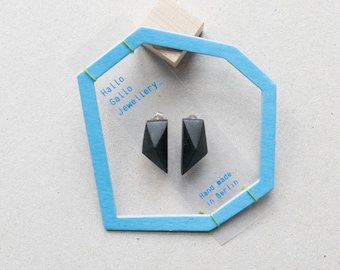Black minimal geometric triangle stud silver earrings
