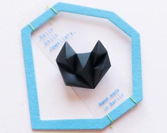 Black minimal geometric triangle brooch