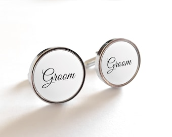 White Groom Wedding Gift Cufflinks