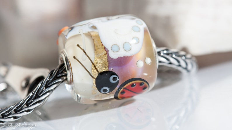 Small Core Artisan Bead Lily Ladybug SRA Lampwork Beads BHB