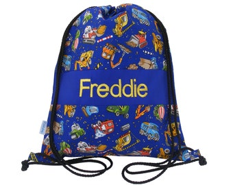 f97917a76 Diggers & Trucks Personalised Swim Bag, Drawstring Backpack, PE Bag - Blue,  Any Name Embroidered
