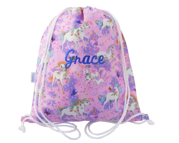 PERSONALISED UNICORN RUCKSACK Cotton Drawstring Bag