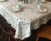 Madeira Linen Tablecloth Richelieu Embroidered Portugal Ecru Vintage Intricate Cutwork Dinner Table Cover Set 64 quot x 82 quot
