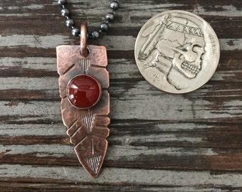 Rattlesnake Tail Dagger Pendant - Rustic Copper & Red Carnelian Beaded Chain Pendant - Unisex Tribal Ethnic Jewelry for Men or Women
