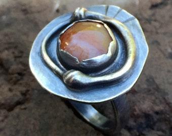 Modern Bohemian Orange Agate Ring BOHO Fall Fashion Oxidized Sterling Silver Artisan Metalwork Jewelry w Oregon Beach Pebble