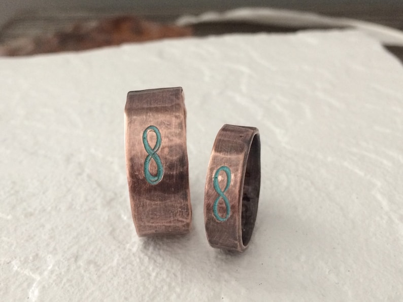 Rustic Copper Wedding Band Unique Unisex 7th Anniversary Jewelry Gifts Custom Stamped Infinity Ring w Turquoise Patina