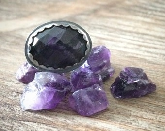Purple Amethyst Ring - Oxidized Sterling Silver February Birthstone Ring Size 6.5 - 6.75 - Unique Artisan Jewelry Gifts for Her