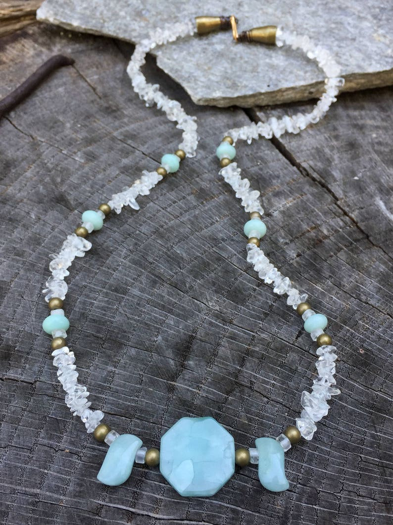 gift for her amazonite aamzonite necklace Amazonite Bead Necklace- crystal necklace amazonite jewellery crystal jewellery cute gift