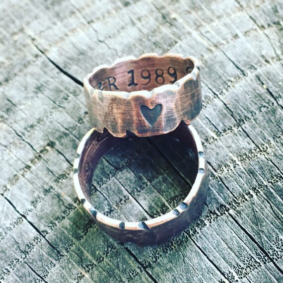 Custom, Thumb Ring, Recycled, Re purposed, Up cycled, 19 year Anniversary, Wedding, Polished, Copper Healing. Father, Mother Copper Ring
