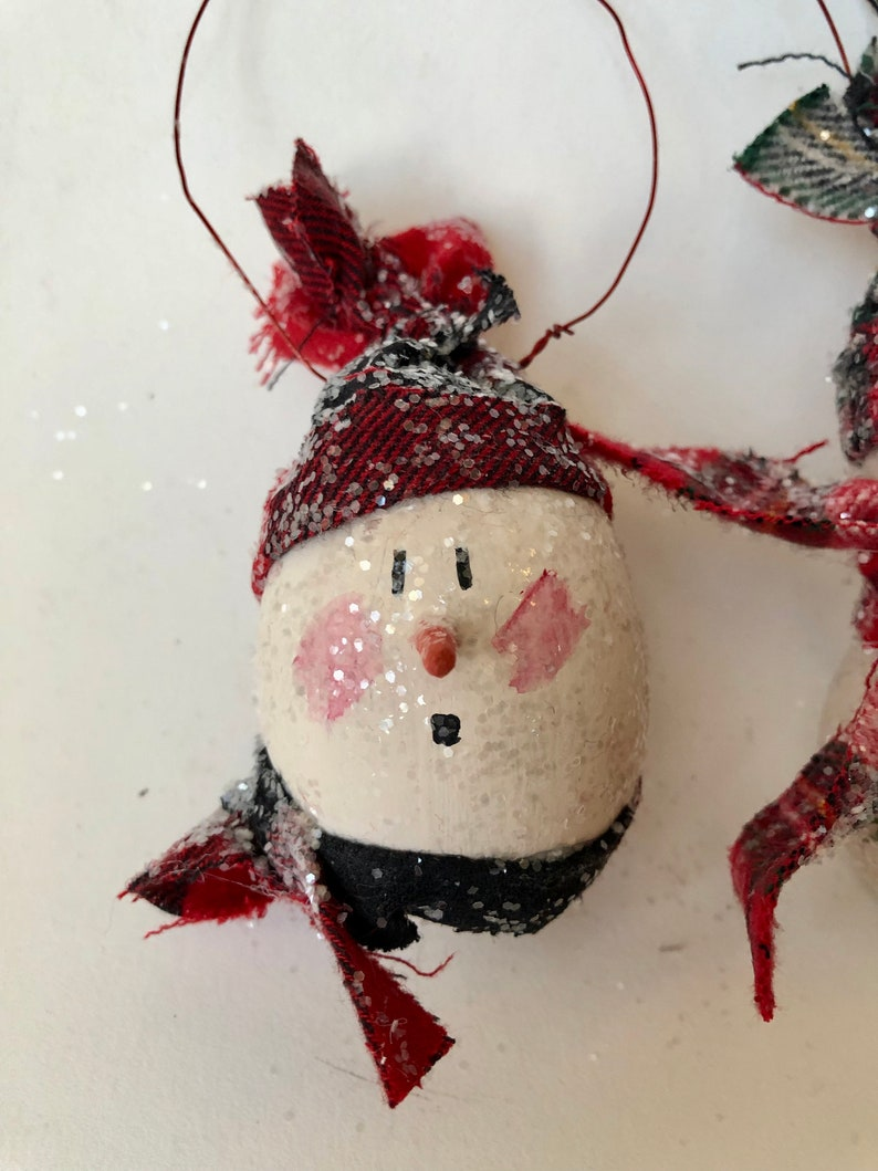 Set of Two Snowman Ornaments Christmas Decoration Holiday Decor Christmas Ornaments Folk Art Santas Dried Natural Gourds