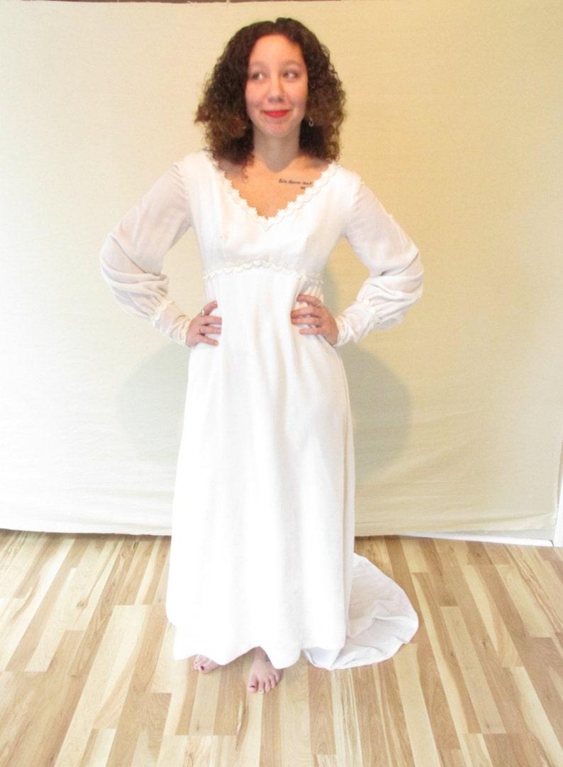 Vintage 1970s Velvet Winter Wedding Dress/ Alternative image 0