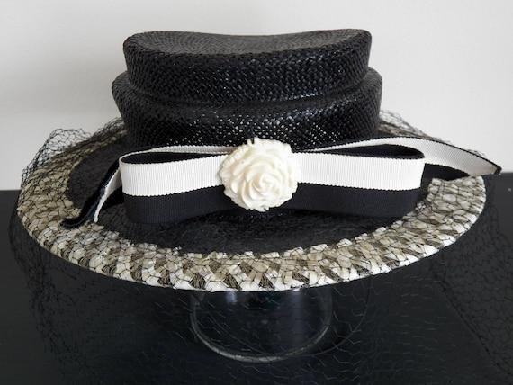 Vintage Ladies Hat Black Hat Veil Netting Hat Black  f6a7d2335df