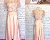 1980s does 30s Satin Peach Lace Party Prom Dress Full Length cummerbund drop waist Flutter Sleeve size Medium